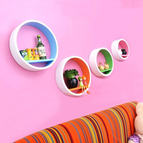 4PCS Creative Round  Wall Shelves For Decor