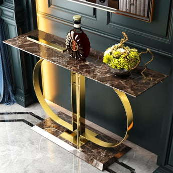 Nordic Style Light Luxury Marble Console Table - My Aashis