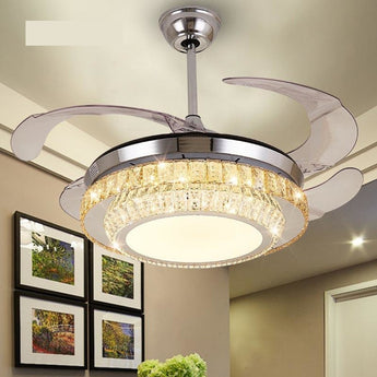 Modern Pendant Metal Crystal Chandelier Fan - My Aashis