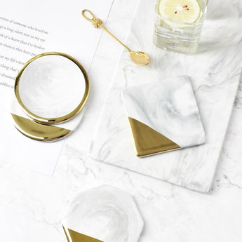 Ceramic Gold Plated Real Marble Placemats - My Aashis