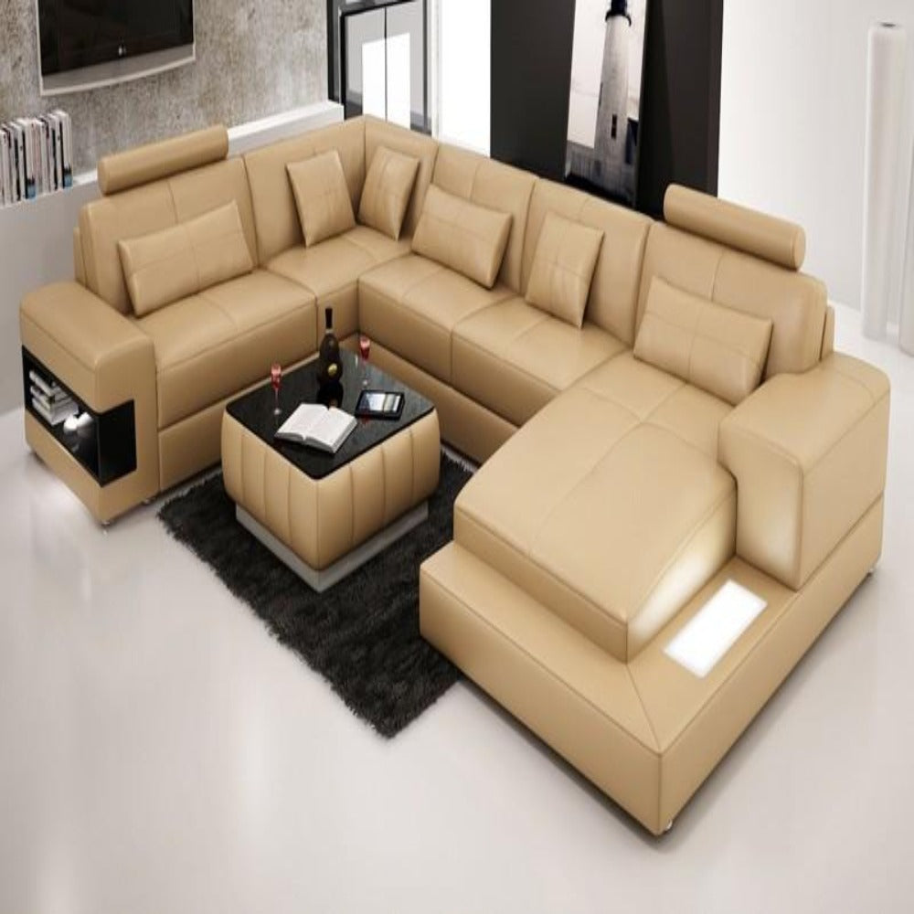 Designer Modern Large LEATHER SOFA Corner Suite NEW Settee Sandbeige ...