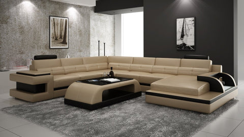 U-Shaped Modern Designed Leather Lounge Sofa - My Aashis