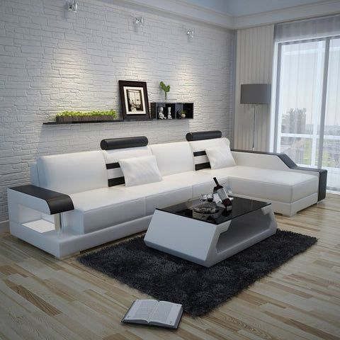 Modern Sturdy Steady Leather Sectional Sofa Set  - My Aashis