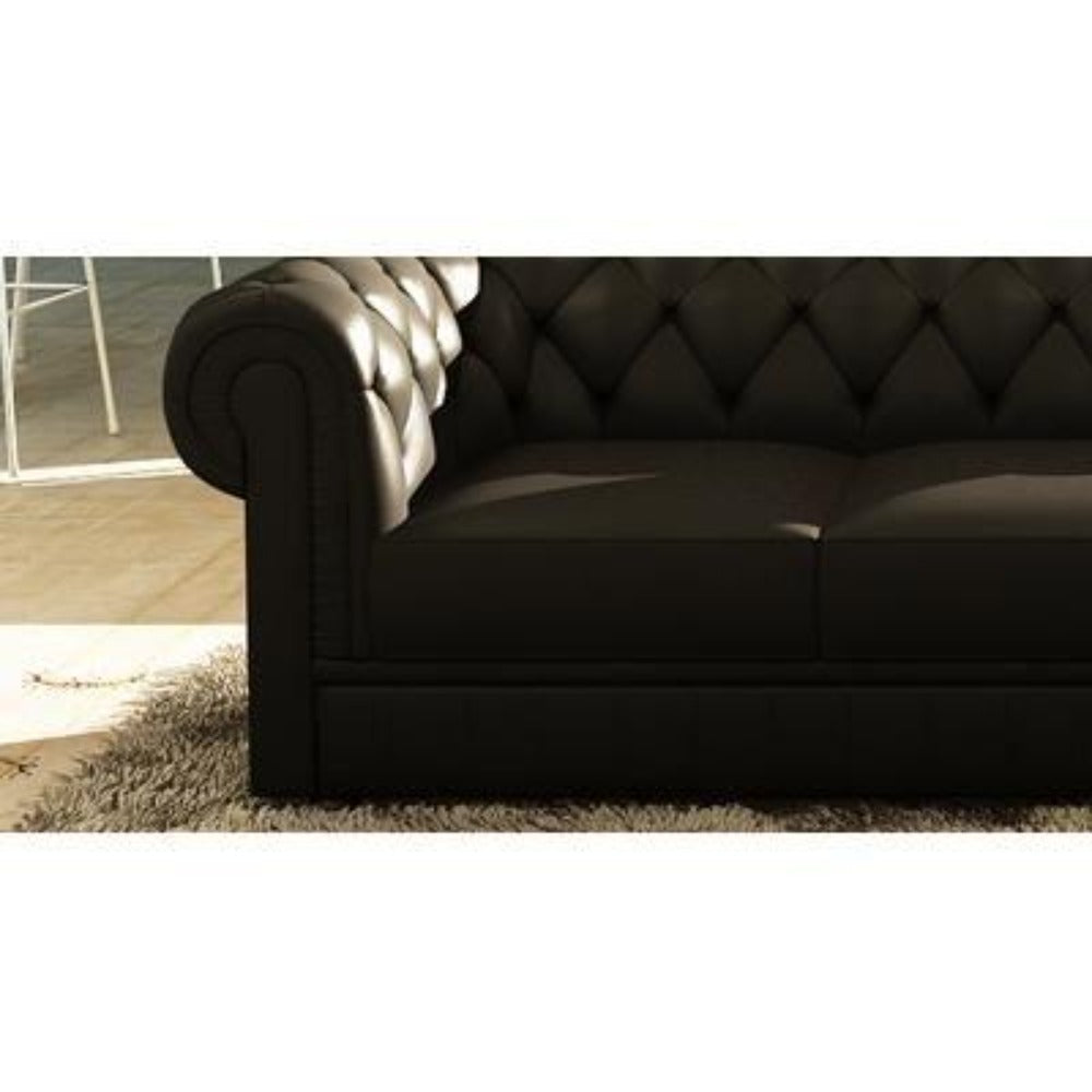 Fabulous Chesterfield Luxury Black Upholstered L Shaped Sofa D Creativecarmelina Interior Chair Design Creativecarmelinacom