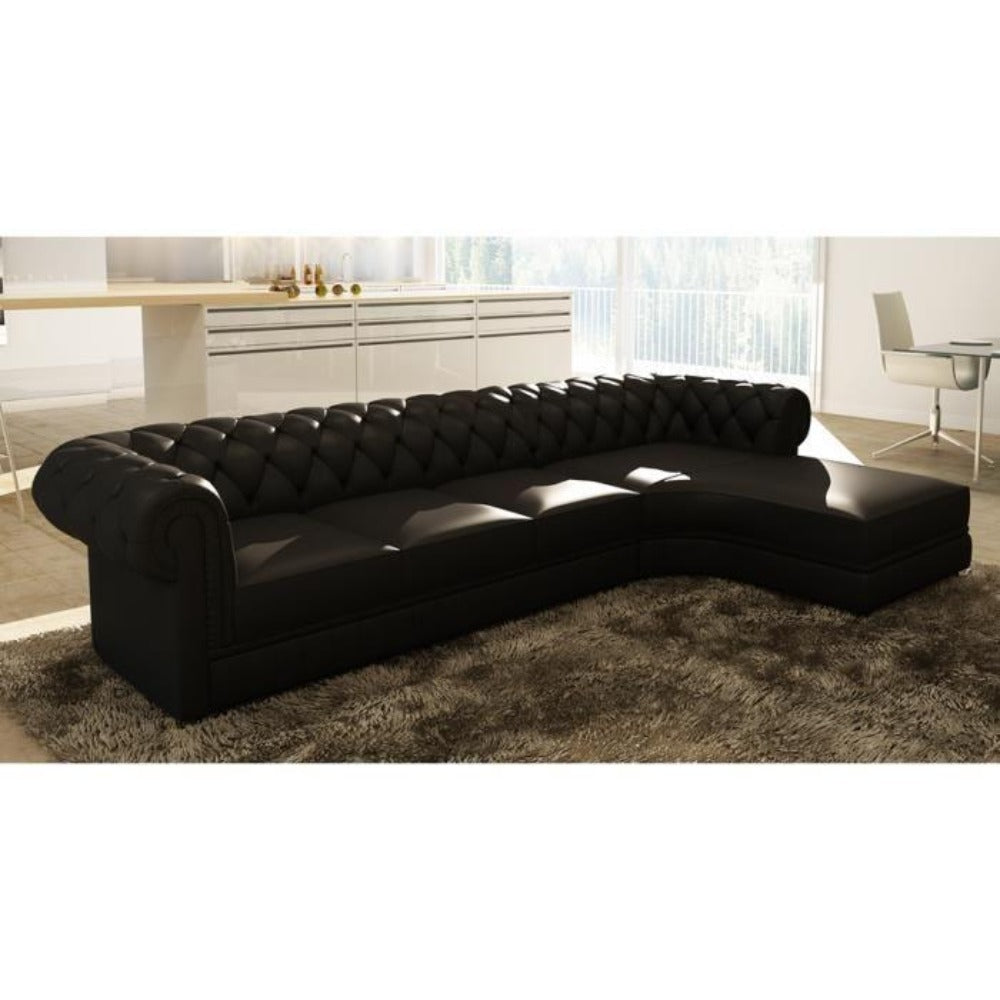 Super Chesterfield Luxury Black Upholstered L Shaped Sofa D Creativecarmelina Interior Chair Design Creativecarmelinacom