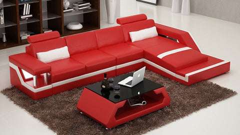 Luxurious Contemporary Leather Sectional Sofa Set - My Aashis