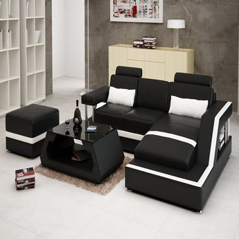 Luxury Modern Ultra-Modern Leather Sofa Set With Chaise And Foot Stool - My Aashis