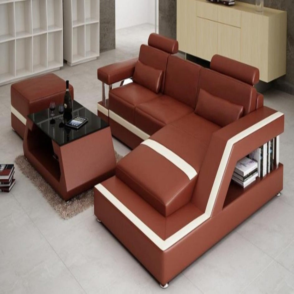 Luxury Modern Ultra-modern leather sofa set with Chaise and ...