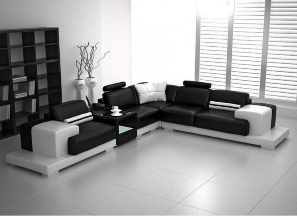 Modern lounge set black choice of fabric white with pink
