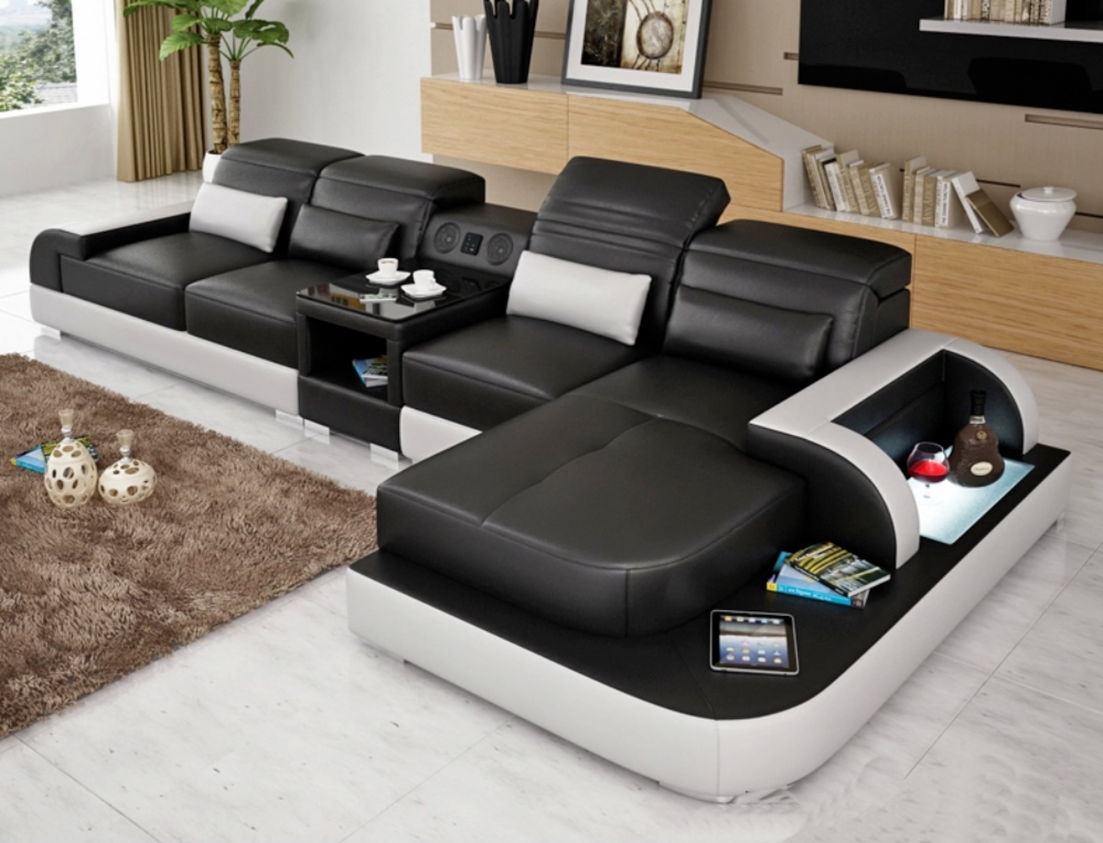 Contemporary Living Room Italian Genuine Leather Sectional Sofa My