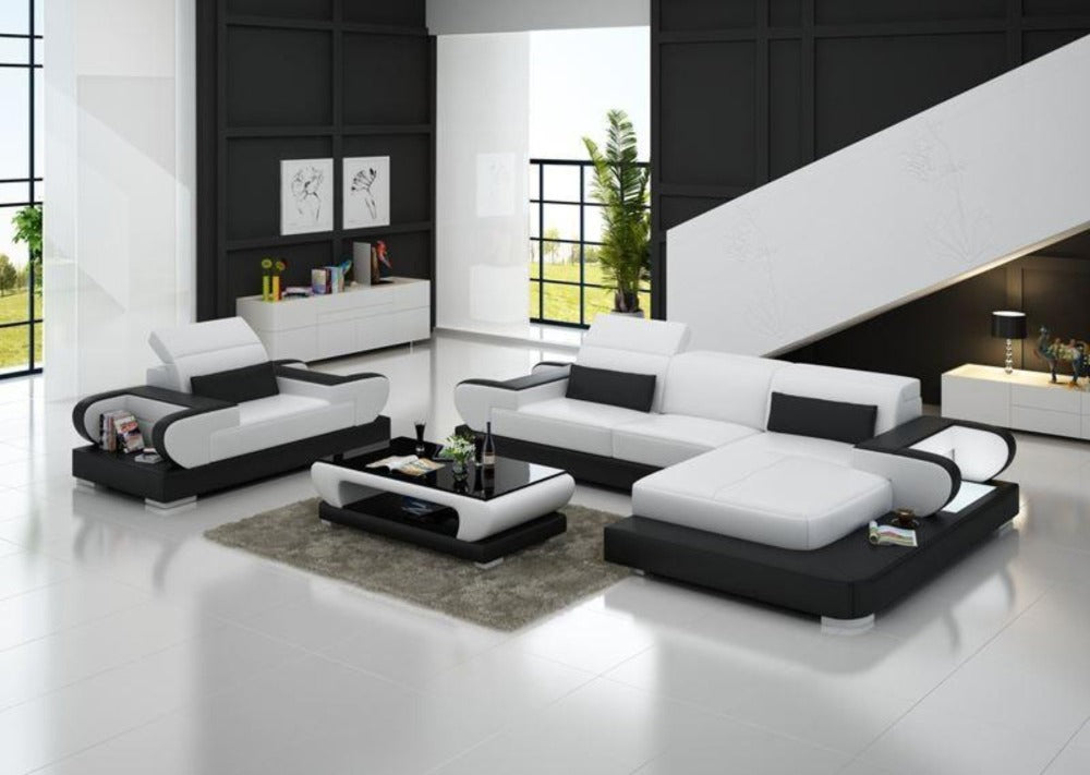 Attirant Modern Design L Shaped Sectional Sofa Genuine Leather Luxury Sofa Sets ...