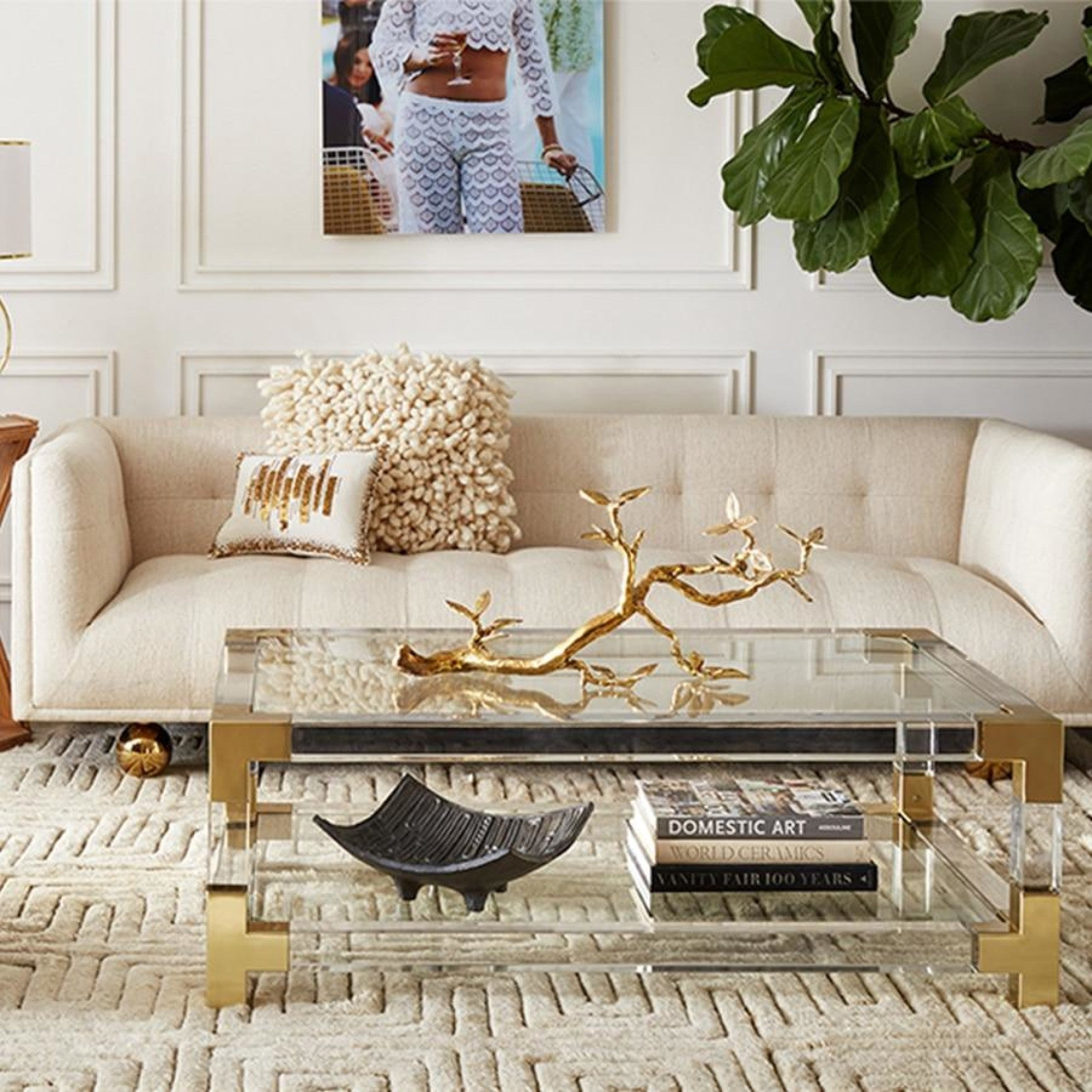 Elegant Glass Made Golden Finish Coffee Table My Aashis