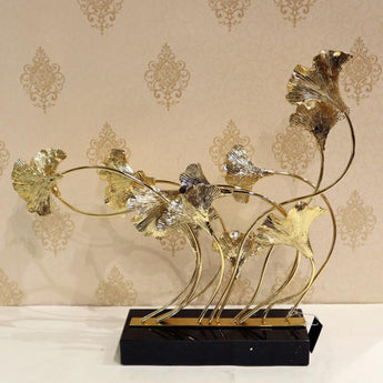 Metal artificial flower with marble stand stainless steel metal craft home decoration pieces