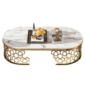 Modern Style Round U Shaped Marble Stainless Steel Coffee Table - My Aashis