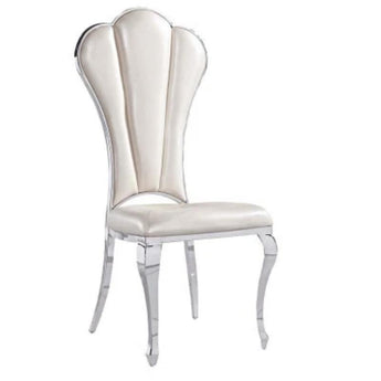 Gorgeous Silver Steel Leather Dining Chair Set - My Aashis