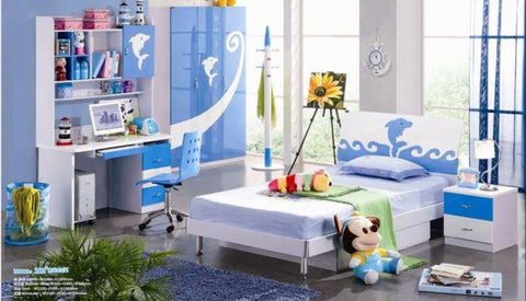Kids Room Furniture Set Contemporary Design - Blue Dolphin Theme - My Aashis