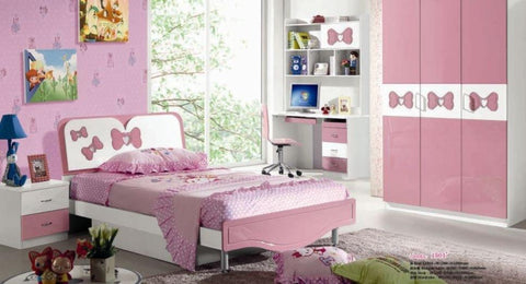 5 pcs Loft Bedroom Set Kids Table And Chair Wood Kindergarten Furniture - Pink Theme - My Aashis
