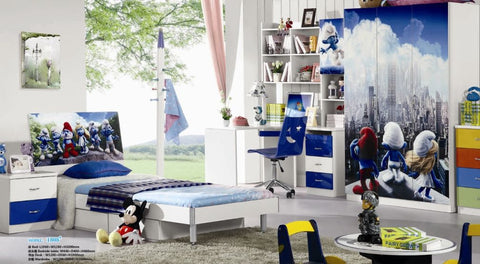 Loft Bed Set Kids Table And Chair Wood Kindergarten Furniture - Boy Theme