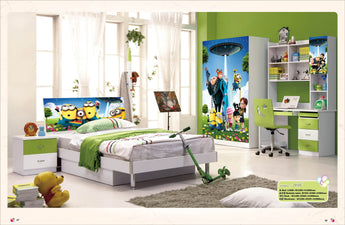 5 Pcs Loft Bed Set Kids Table And Chair Wood Kindergarten Furniture - Minnon Theme - My Aashis