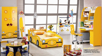 Kids Twin Size Platform  Bed Frame, Construction Truck Design 5 Pcs. Kids Bedroom Set