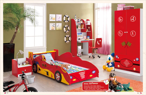 Kids Twin Size Platform  Bed Frame, Construction Car Design 5 Pcs. Kids Bedroom Set