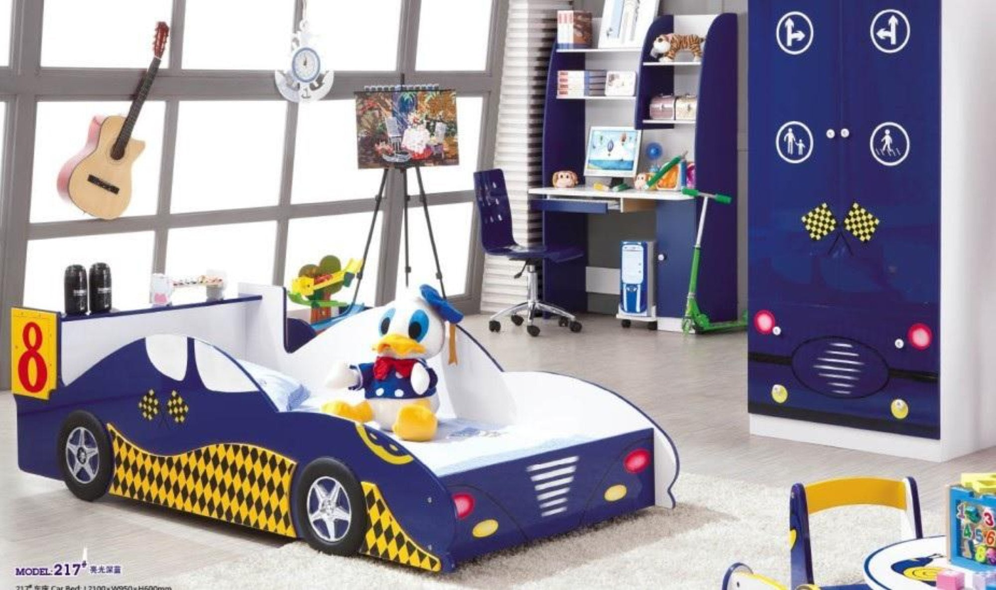 5 Pcs Loft Kids Bedroom Set With Storage Table And Chair Wood