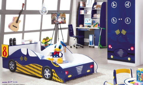 5 Pcs Loft Kids BedRoom Set With Storage Table And Chair Wood Kindergarten Furniture -Blue Car Theme - My Aashis