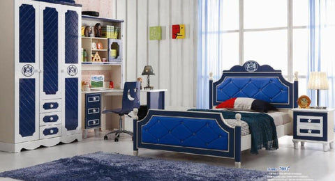 Child Desk Chair Loft Bed Set Kids Table Wood Kindergarten Furniture - Blue Theme
