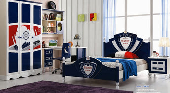 5 Pcs Loft Kids  Bedroom Set With Storage Table And Chair Wood Kindergarten Furniture -Blue Theme - My Aashis