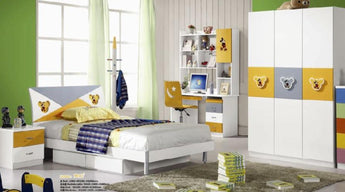 5 Pcs Loft Kids  BedRoom Set Table And Chair Wood Kindergarten Furniture - White Theme - My Aashis