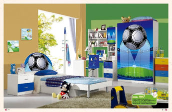 Child Desk Chair Loft Bed Set Kids Table Wood Kindergarten Furniture - Soccer Theme