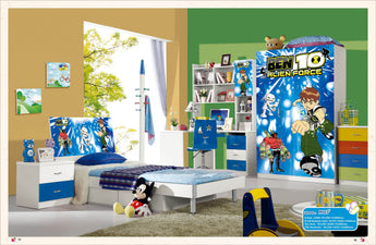 Loft Bed Set Kids Table And Chair Wood Kindergarten Furniture - Blue Theme
