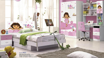 5 Pcs Loft Bed Set Kids Table And Chair Wood Kindergarten Furniture - Dora Theme - My Aashis