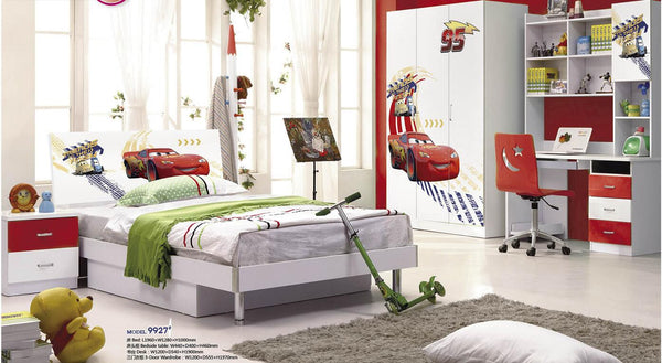 5 Pcs Loft Bed Set Kids Table And Chair Wood Kindergarten Furniture - McQueen Theme