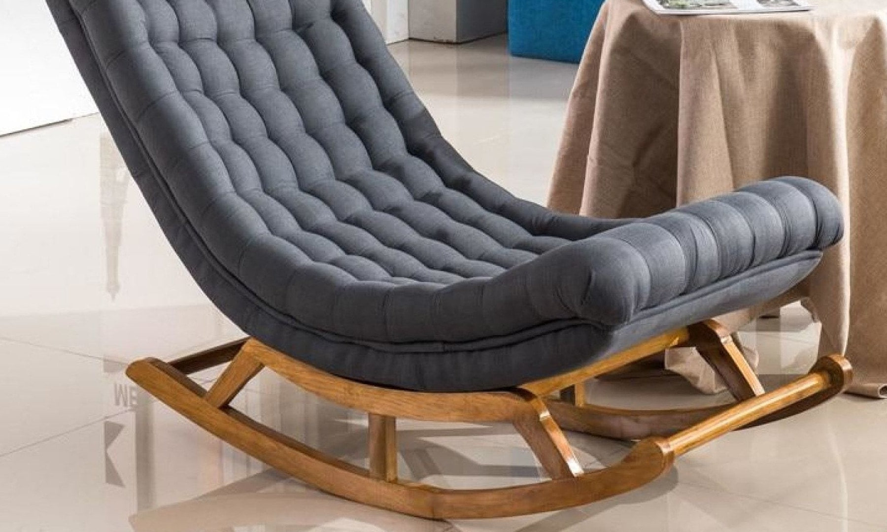 Modern Design Rocking Lounge Chair Fabric Upholstery and Wood For Home Furniture Living Room Adult Luxury 3c0c1874 7955 4095 83cf 75a1d