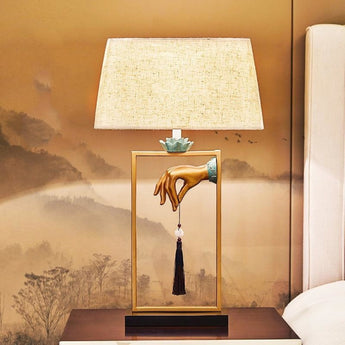 Modern Golden Table Lamp With Hand Loop Hanging - My Aashis