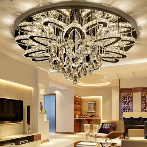 Luxury Led Remote Control Crystal Ceiling Chandelier - My Aashis