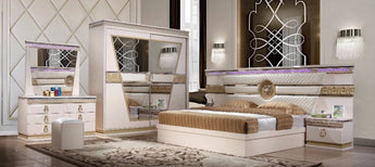 King Size Wooden Fashionable White Finish Bedroom Set - My Aashis