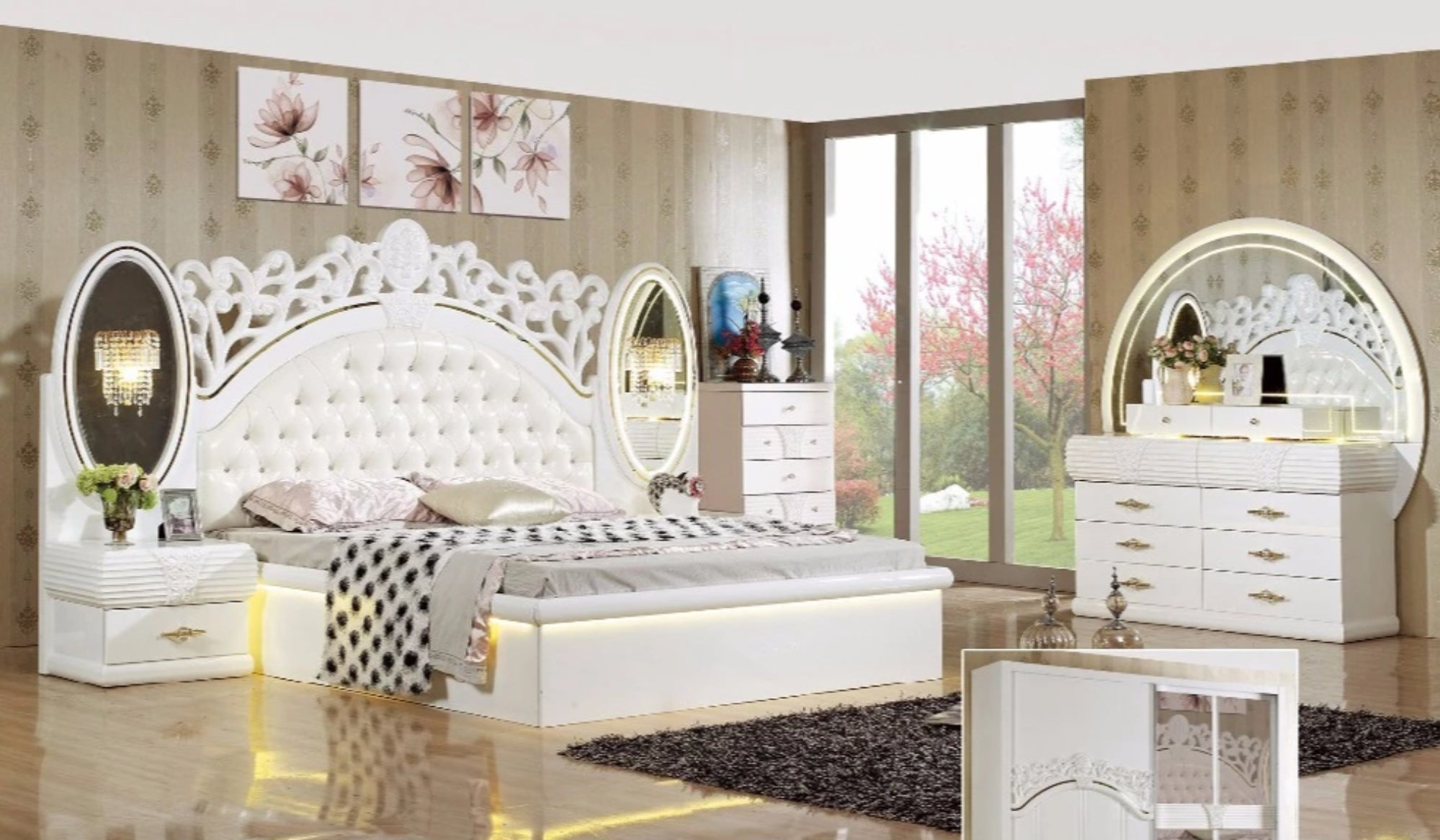 Gorgeous King Size Bedroom Set Furniture   My Aashis
