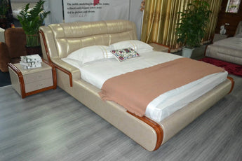 Leather Shine Bed For Home Furniture - My Aashis