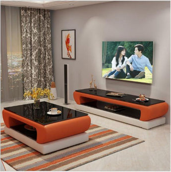 Urban Style Leather Coffee Table With TV Stand - My Aashis