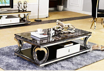 Modern Minimalist Marble Stainless steel Coffee Table