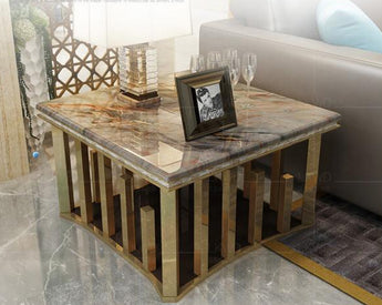Supper Shining Marble Top Metal Coffee Table - My Aashis