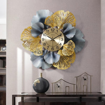 Charming Creative Metal Ginkgo Leaf Decorative Wall Clocks - My Aashis