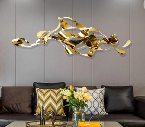 New design gold color metal material 3D wall decoration luxury home decoration pieces - My Aashis
