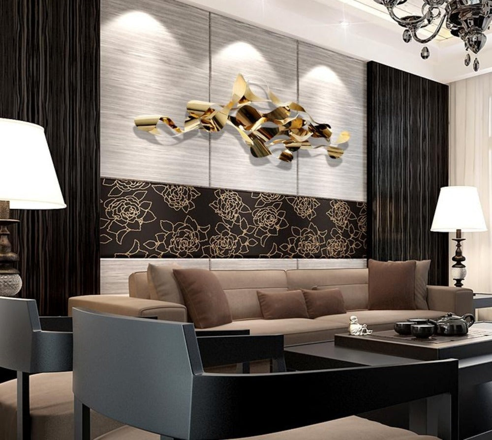 ... New Design Gold Color Metal Material 3D Wall Decoration Luxury Home  Decoration Pieces ...