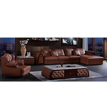 Newest European Leather and Fabric Upholstered Living Room Sofa - My Aashis