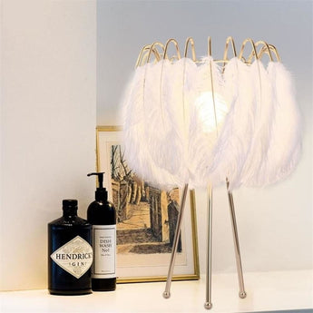 Light Unique Feather Table Lamp For Home Brightness - My Aashis