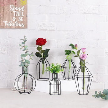 Unique & Ethnic Iron Transparent Glass Vase For Home Decor