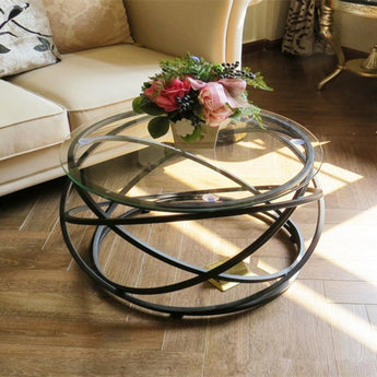 Round Fashion Metal Base Coffee Table - My Aashis